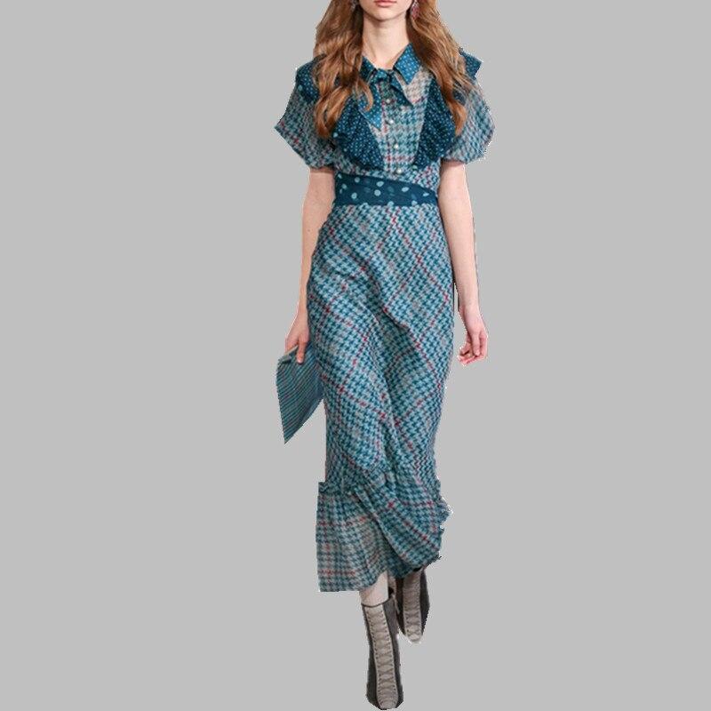 Summer Women Elegant Runway Long Dress Ruffled Lantern Sleeves Beautiful Dress