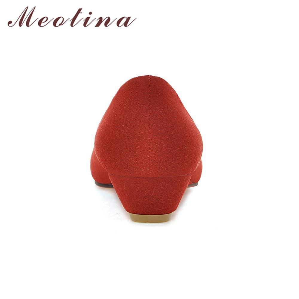 Chaussures Automne rouge Dames Femelle Travail Pointu Talons Taille Coins Wedge 42 Pompes 43 Beige Grande Lady noir Femmes Bout Abricot Meotina Vert vert dBqzwCd