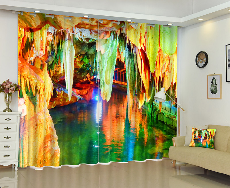 Brilliant Color Grotto Curtains 3D Printing Bedding Room Window Curtain 95% Backout Shade Shround for Hotel Customized Photo
