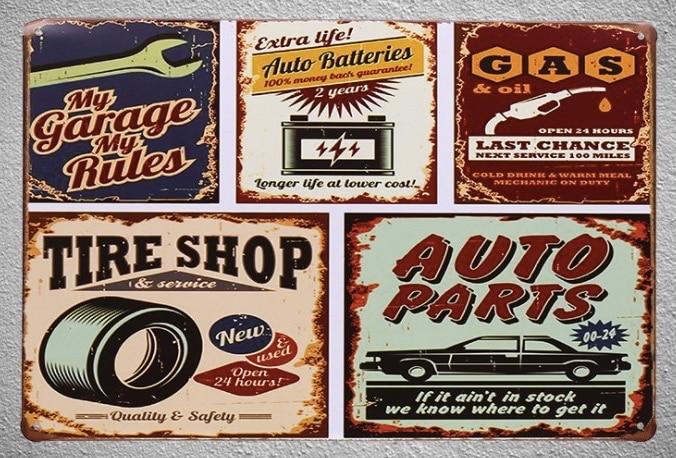 1pc Mechanic tire shop gas oil car repair Tin Plate Sign wall man cave Decoration Man Art Poster metal vintage
