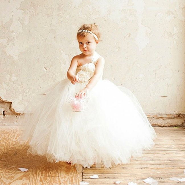 71ddb7cb4 Ivory Flower Girl Wedding Couture Tutu Dress Beige Crochet Top Ivory ...