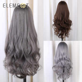 Element Long Synthetic Natural Wave Grey Wigs With Bangs Lolita Cosplay Party Wigs for White/Black Women Heat Resistant Fiber
