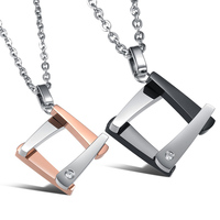 Heyrock New Arrival 316L Stainless Steel Square Pendant Necklace With Shining Crystal For Women Men S