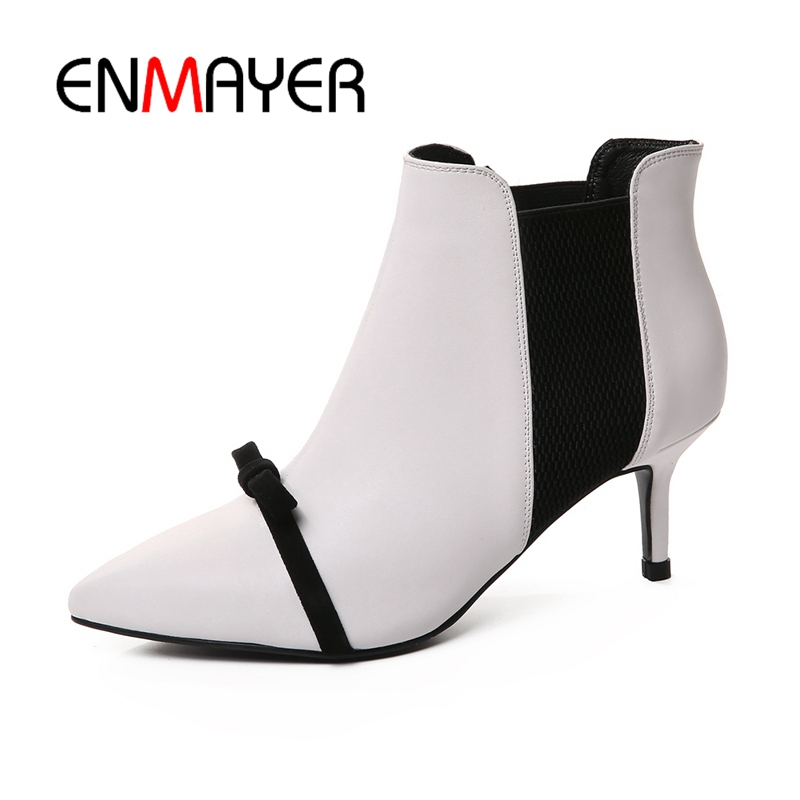 ENMAYER Patchwork Women Ankle boots Shoes women Big size 34-40 Causal Pointed Toe Kine Thin heels Bowtie Women Shoes CR463
