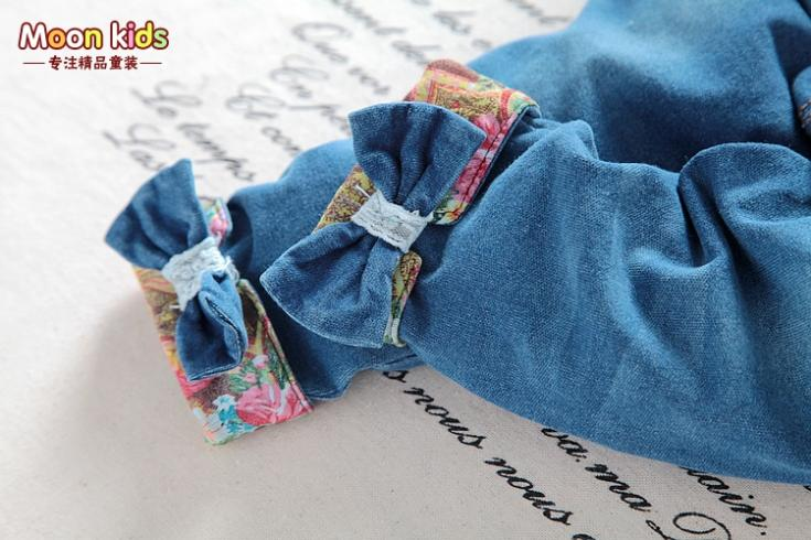 Free-shipping-spring-and-autumn-Baby-girls-bow-denim-bib-pants-infant-jumpsuit-kids-1