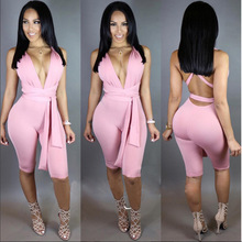 Summer 2016 Romers Women Jumpsuit Lace Up Jumpsuit Beach High Waist Playsuit One Piece Casual Overalls Plus Size mono