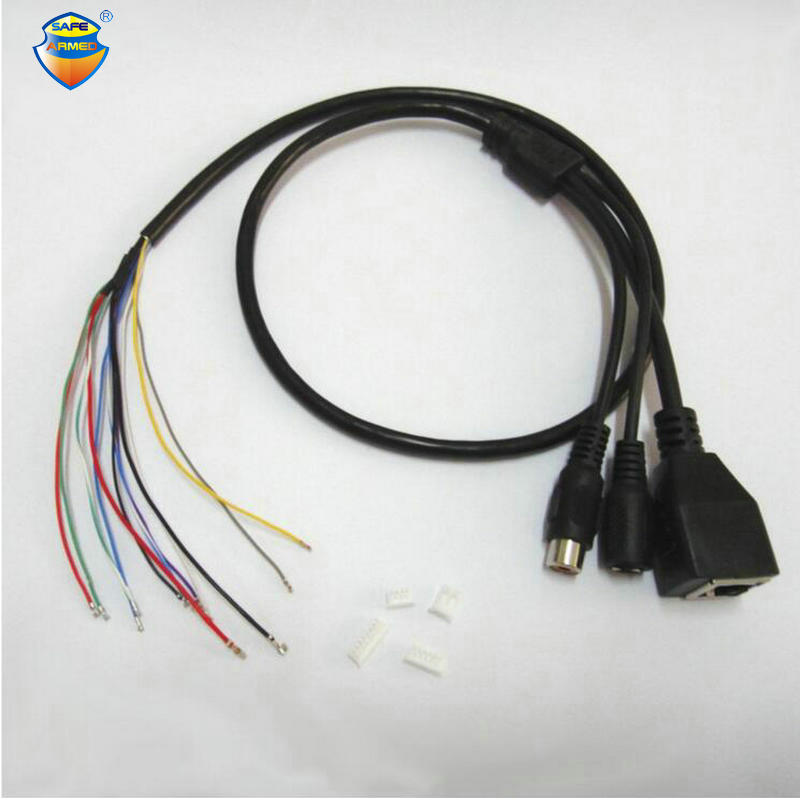(2 PCS)CCTV IP Network Camera PCB Module Video Power Audio Cable, With RCA Audio RJ45 Female & DC Male Connectors With Terminlas