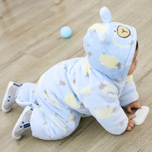 New Born Baby Winter Thicken Rompers Baby Boys Girls Warm Cartoon Clothes Coldker Infant Velvet Jumpsuit Toddler Out Pajamas russian cute bunny fleece velvet infant clothing winter baby girls boys rompers warm new born baby newborn clothes snow jumpsuit