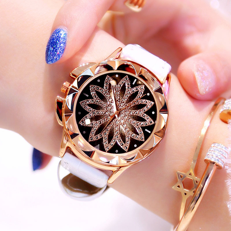 Women Watches 2019 Fashion Casual Crystal Diamond Dress Wristwatch White Leather Strap Luxury Brand Quartz Watch Female Clock in Women 39 s Watches from Watches