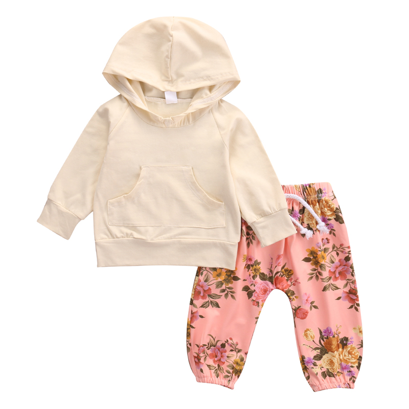 New Fashion Lovely Newborn Baby Girl Clothes Set Long Sleeve Hooded Top Long Pants Clothes Set