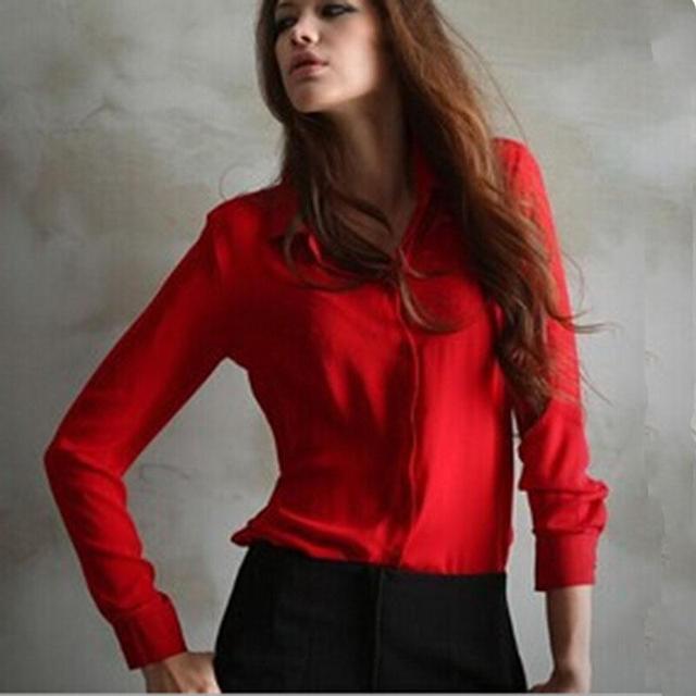 2017 Женщин Шифона Рубашку Весна Лето Женщин новый Европейский и Американский Длинными рукавами Шифон Рубашка Блузка Большого Размера