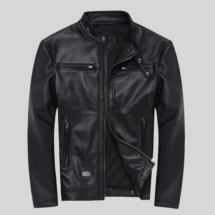 Factory Cheap Wholesale Men Sheepskin Leather Jacket Fashion Genuine Leather S-4XL