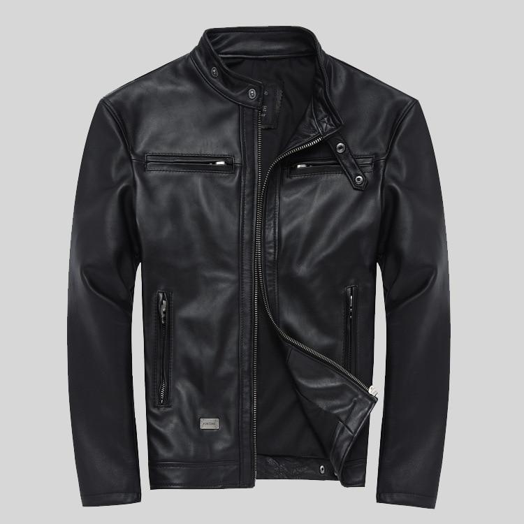 Factory Cheap Wholesale Men Sheepskin Leather Jacket Fashion Genuine Leather S-4XL