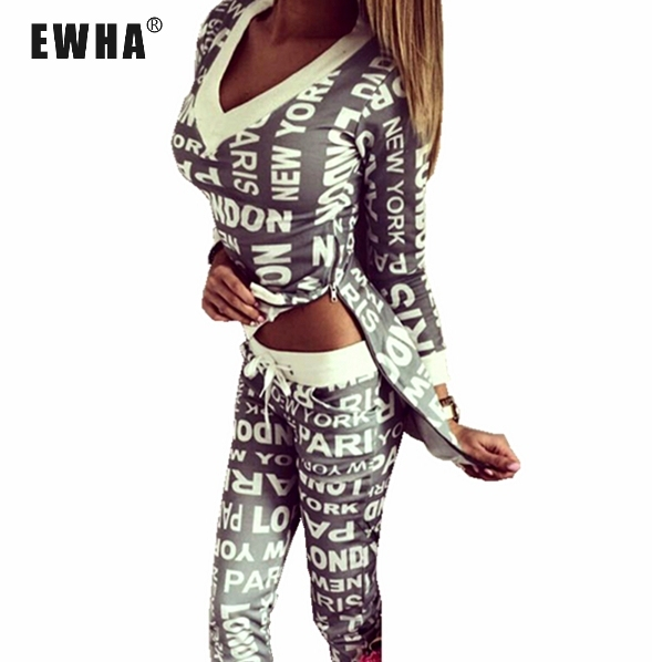 Nova fêmea longo-manga com decote em v cintura elástica calças moda lazer roupa de duas peças de mulheres DEFINIR terno ocasional