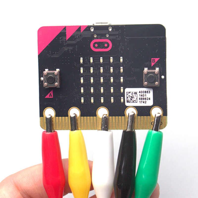10 قطعة/الوحدة ل مايكرو: بت microbit التمساح كليب مع الأسلاك ، موصلات اختبار الكهربائية اختبار سلك توصيل معزز التمساح كليب