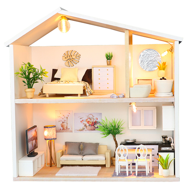 Miniature Wooden DIY Doll House with Two Floors