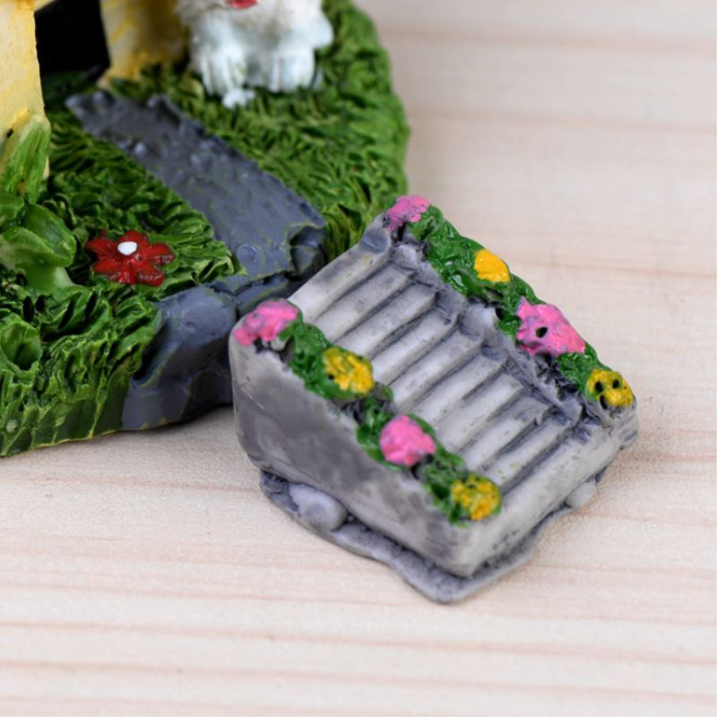 1Pcs Mini Resin Stone Stairs Flight Bamboo Raft Figurines Micro Landscaping Decor For Garden DIY Craft Accessories P20