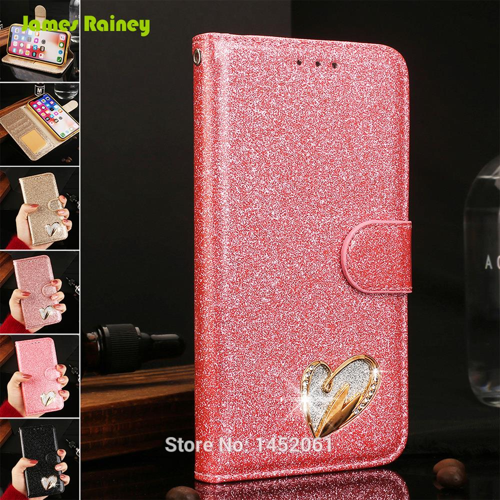 IMD <font><b>Glitter</b></font> <font><b>Hoesje</b></font> Funda Coque Case For <font><b>iPhone</b></font> 6 6S Plus X 5 SE 5S With Card Pocket Heart-Shaped Diamond Kickstand Flip Wallet image
