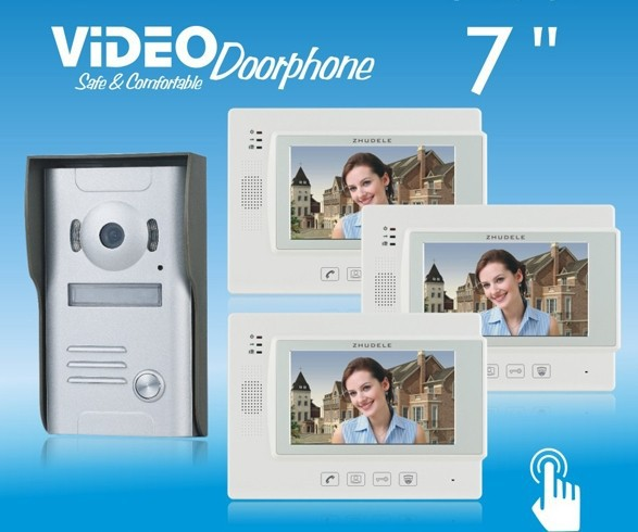 ZHUDELE HOME PRODUCT+ 7color video door phone,CCD camera ,touch screen can connect CCTV camera (1 to 3)