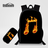 Dispalang Music Note Oxford Mens Womens Backpack With Pencil Bag SET 2PCS Large School Bag For