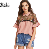 SheIn Contrast Embroidered Mesh Yoke Ruffle Sleeve Top Women Summer Blouses 2017 Color Block Short Sleeve
