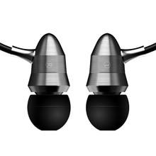 RUKZ T1 رصاصة سماعات أذن من المعدن في سمّاعة أذن مع ميكروفون احترافي HiFi ستيريو الهاتف المحمول إلغاء الضوضاء سماعات أذن