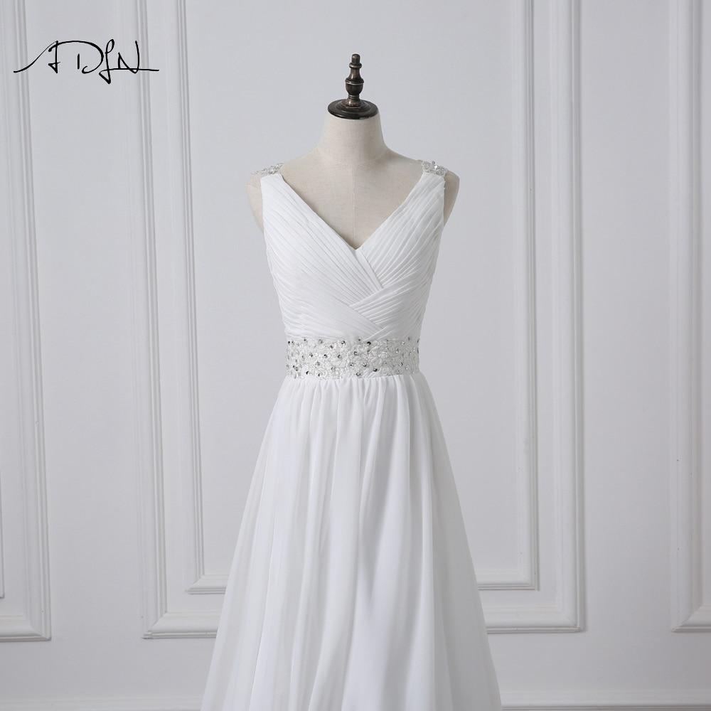 V-Neck Sleeveless Long Pleat Crystals Beaded Chiffon A-Line Wedding Dress 4
