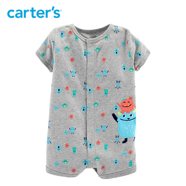 Carters Baby Boy Clothes Monster Snap Up Romper Summer Fashion