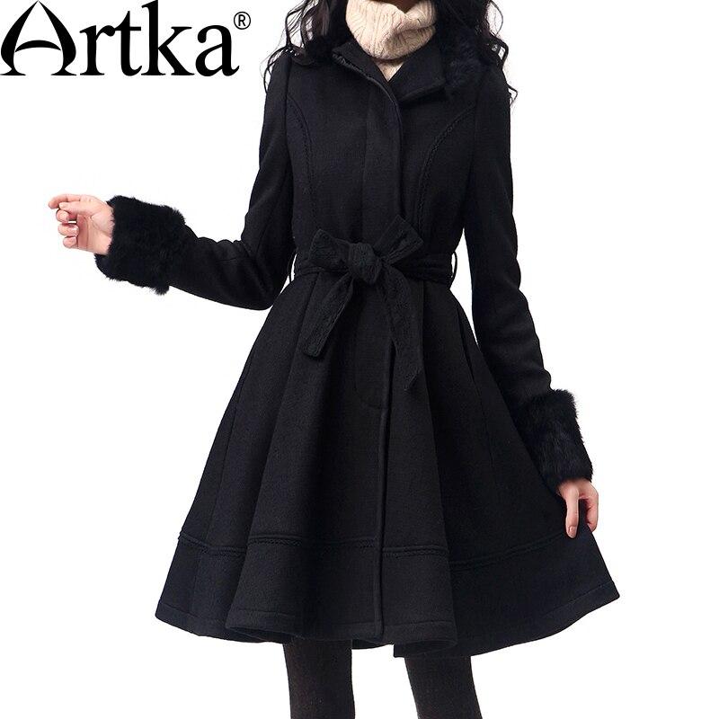 Artka Femmes de Laine Manteau Hiver 2018 Long Manteau Avec Ceinture Coréenne Manteau De Fourrure Femelle Laine Mélange Manteau Marque Outwear pour Femmes FA10135D