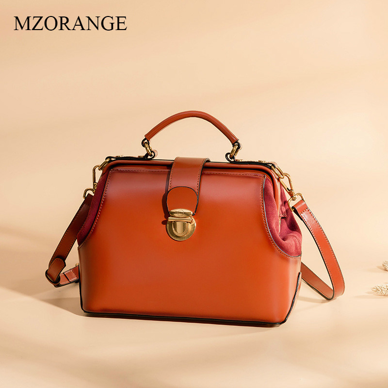 MZORANGE 2018 Women Bag Genuine Leather Doctor Bag Lock Handbag Oil Wax Vintage Flap Shoulder Bags Fashion Lady Crossbody Bag lastek low level laser therapy wrist watch blood pressure monitor diabetes treatment device