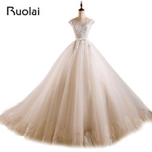 Elegant Real A-Line Wedding Dresses Scoop Appliques Beaded Lace Up Back Long Bridal Gown Vestido De Novia Wedding Party ASAF41