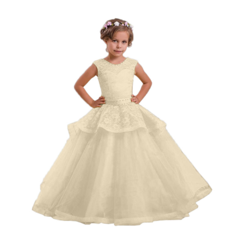 Ball Gown Flower Girls Dresses For Wedding Gowns Lace Kids Evening Gowns Long Girl Clothes Pageant Dress Mother Daughter Dresses gorgeous lace beading sequins sleeveless flower girl dress champagne lace up keyhole back kids tulle pageant ball gowns for prom