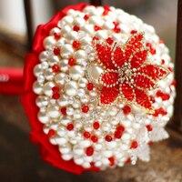 Пользовательские Красный Брошь Букет Свадебные невесты Кристалл Жемчуг Букет, китайский стиль Свадебные украшения Перл невесты букеты