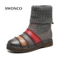 SWONCO Knitting Botki Platformy Roczniki Kobiet Snow Boots Genuien Skórzane 2017 Zima Retro Handmade Kobiety Ciepłe Buty