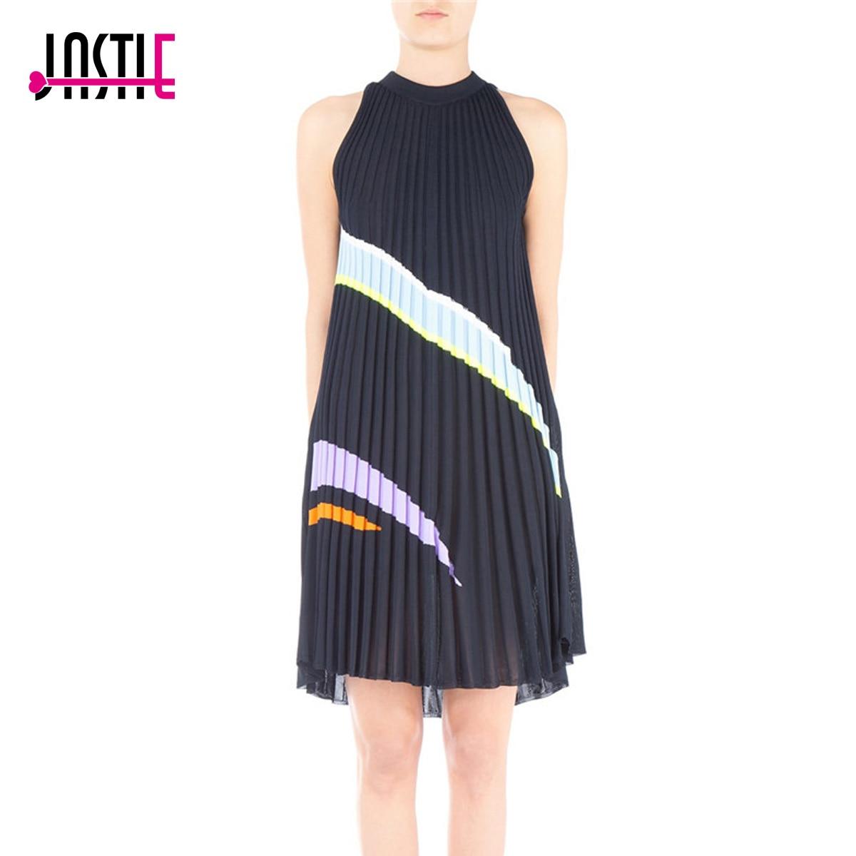 Jastie Asymmetric Color Striped Knitted Pleated Dress O-Neck Sleeveless Midi Dresses Bodycon Autumn Winter Dress Women Vestidos plain asymmetric v neck ruffled work bodycon dress