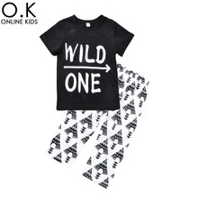 Toddler Boys Clothing Sets 2017 Summer New Letter Wild One Arrow T Shirt+Pants 2pcs Boy Girl Clothing Set For Kids Baby Clothes