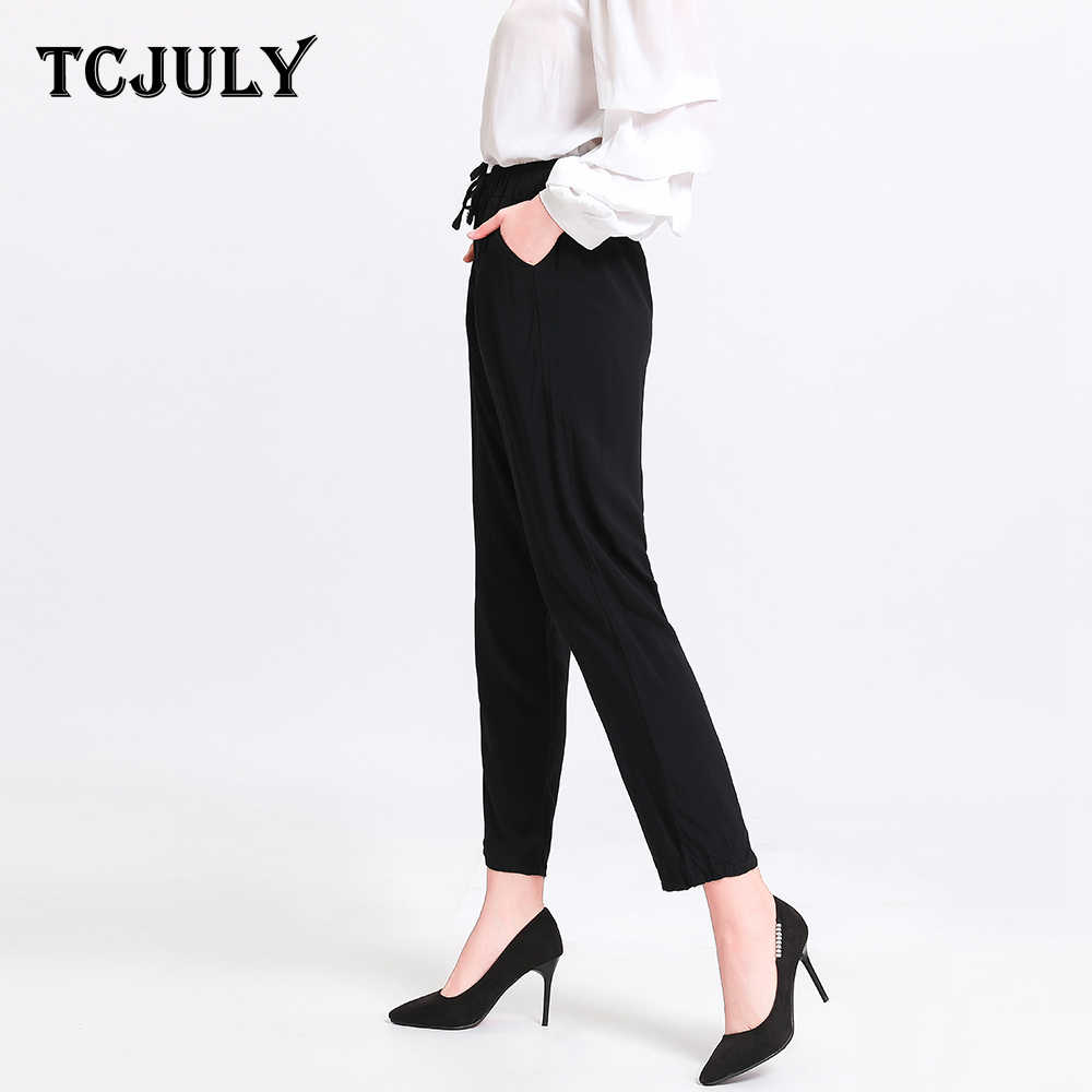9a9826d87a3e ... TCJULY 2019 New Korean Fashion 100% Rayon Solid Harem Pants Drawstring  Loose Casual Black Trousers ...