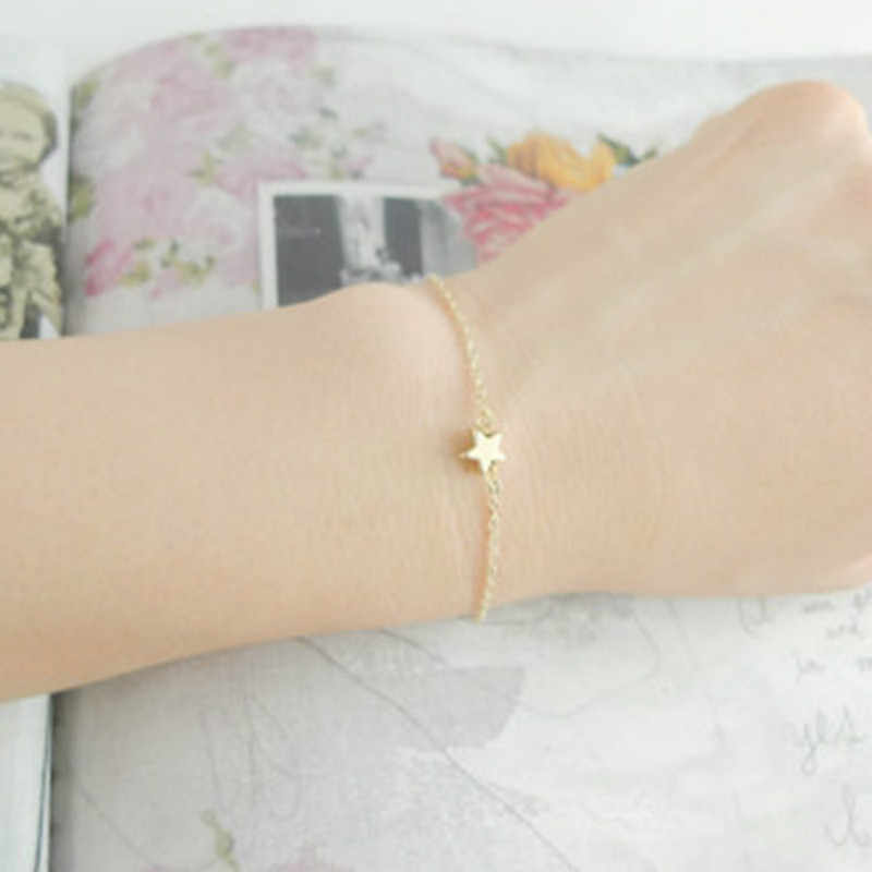 Lady Charming Elegant Gold Color Star Shape Simple Chain Bracelet Women Jewelry Gift