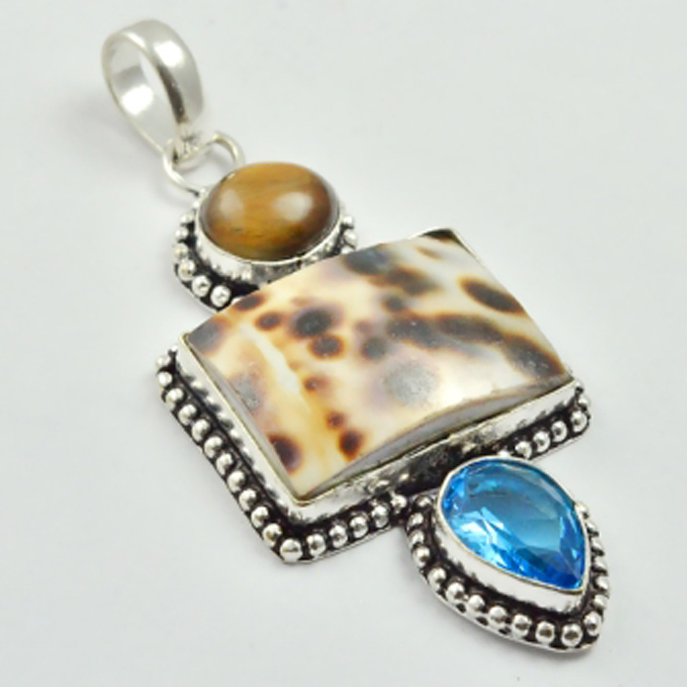 Animal Shell & Tiger Eye   Pendant   Silver Overlay over Copper , 70 mm, P3103