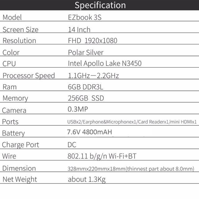 Jumper EZBOOK 3S laptop 14 inch 6GB DDR3L RAM 256GB SSD Storage Intel Apollo Lake N3450 1080P FHD Screen Notebook computer