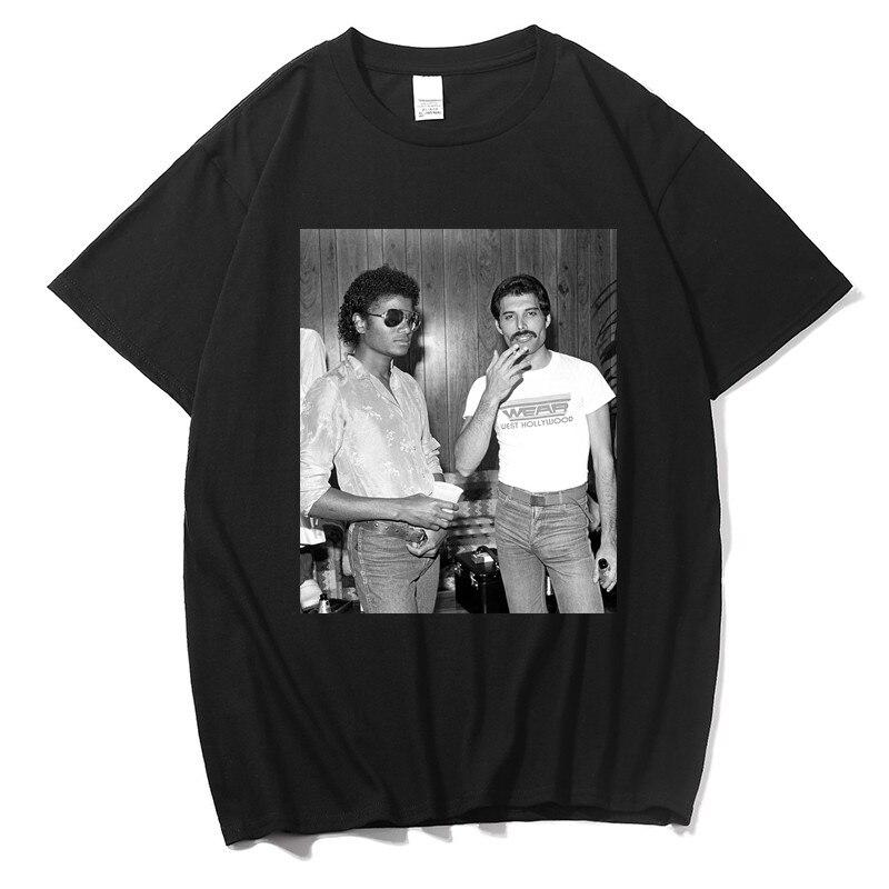 T-Shirt Homme Freddie Mercury et Michael Jackson noir T-Shirt décontracté 100% coton T-Shirt hommes Shorts Streetwear mode