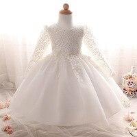 2017 Newborn Baby Girl Lace Dress White 1 Year Birthday Dress Girl Christening Gowns Baby Pink Princess Wedding Party Dress