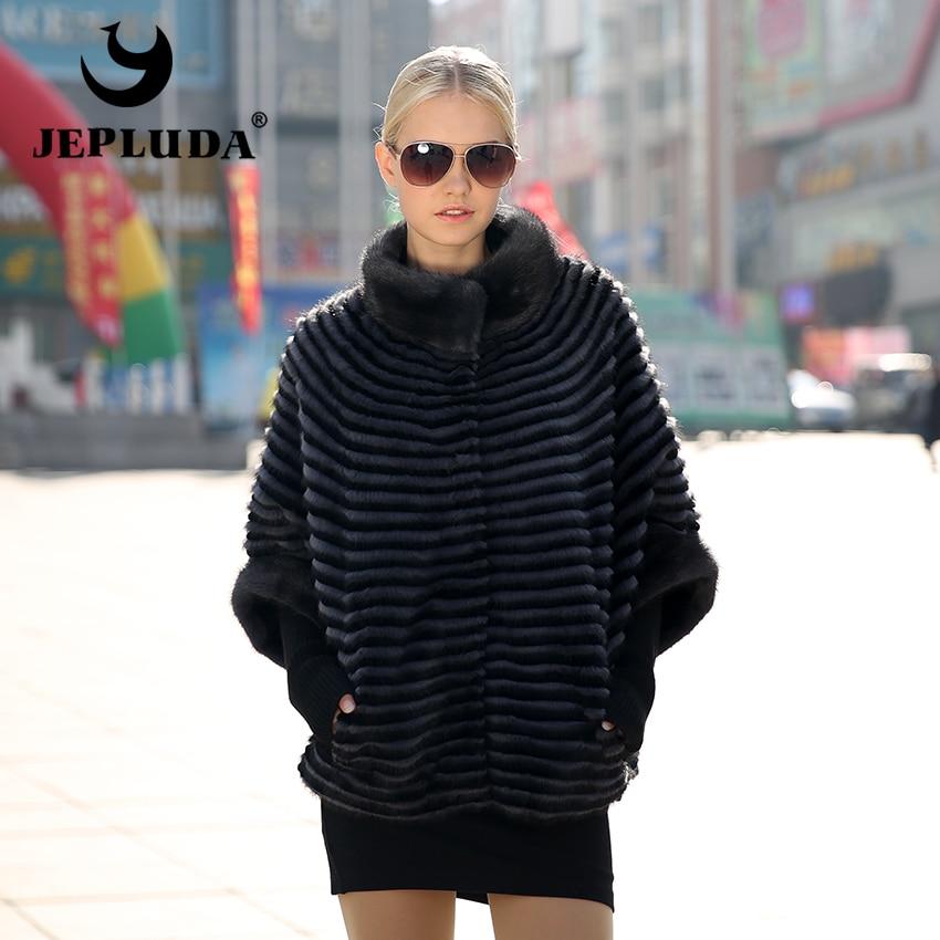 JEPLUDA New Women's Real Mink Fur Coat Rex Rabbit and mink Fur with Down Double Sided Jacket Winter Jacket Women L16-1020D