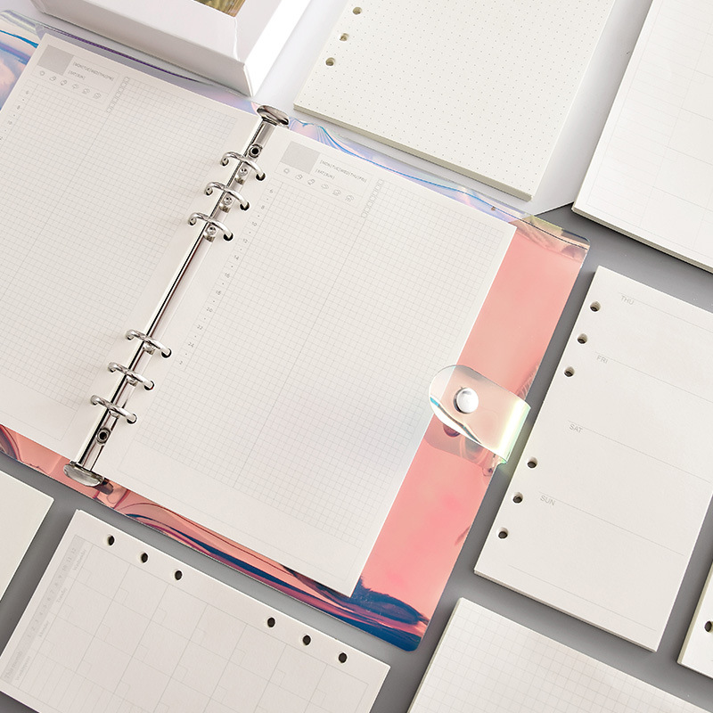 45PCS high quality binder <font><b>notebook</b></font> <font><b>A5</b></font>/A6 insert refill 6 hole loose leaf <font><b>spiral</b></font> <font><b>notebook</b></font> paper diary plan inner core paper image