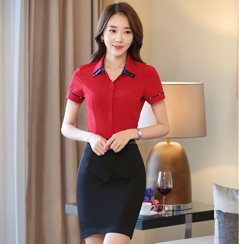 Formal Fashion Summer Short Sleeve Work Suits With Tops And Skirt Ladies Outfits Beauty Salon