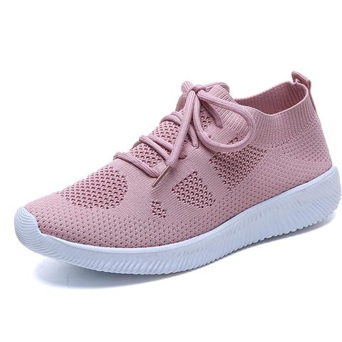 White Sneakers Women Vulcanize Shoes Summer Ladies Trainer Knitted Shoes Spring Flats Casual Lace-up Sock Shoes Zapatillas Mujer Multan