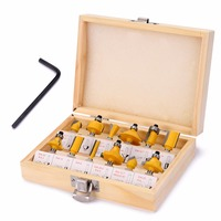12pcs Set New Arrival 1 4 Shank Carbide Router Bit Set With Wooden Box For Woodworking