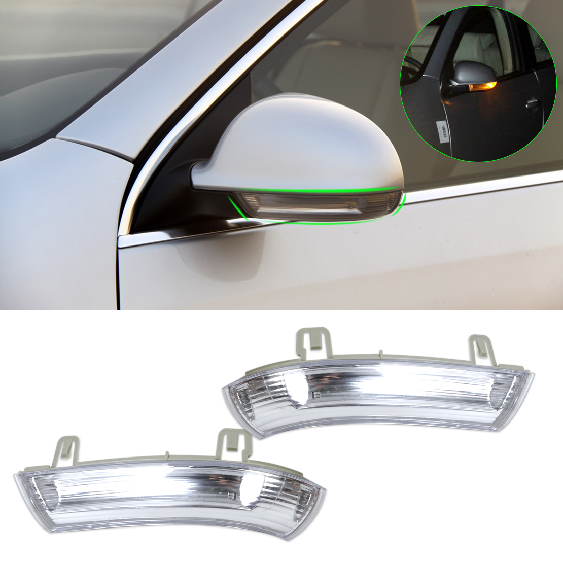 DWCX New Car Oyster Gray Left & Right Door Mirror Turn Signal Light 1K0949101 / 1K0949102 for Volkswagen VW JETTA MK5 PASSAT