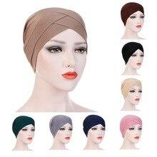 Moslim Vrouwen Stretch Cross Katoenen Tulband Hoed Kanker Chemo Mutsen Cap Hoofddeksels Headwrap Haaruitval Cover Accessoires