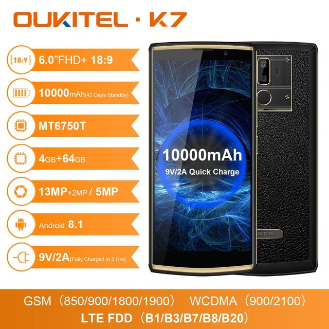 OUKITEL K7 Android 8.1 6.0″ FHD+ 18:9 MTK6750T 4G RAM 64G ROM 10000mAh 9V/2A Quick Charge 13.0MP+5.0MP Fingerprint Smartphone